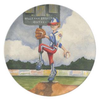 Jarra del béisbol en el montón de Jay Throckmorton Platos