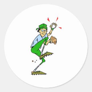 Jarra del béisbol etiqueta redonda
