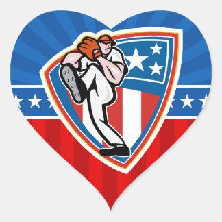 Jarra del béisbol pegatina en forma de corazón