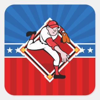 Jarra del béisbol pegatina cuadrada