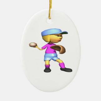 Jarra del softball adorno navideño ovalado de cerámica