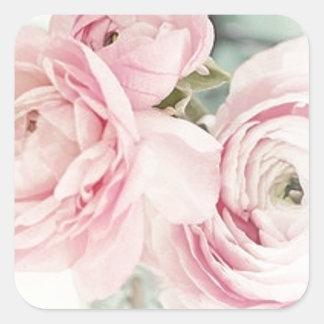 Jarra elegante lamentable de flores rosadas pegatinas cuadradas
