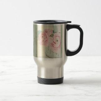 Jarra elegante lamentable de flores rosadas taza térmica