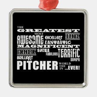 Jarras del béisbol: La jarra más grande Adorno Cuadrado Plateado