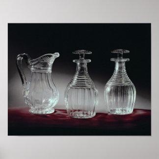 Jarras y jarro, c.1840 del cristal tallado posters