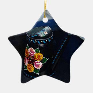 Jarro de agua adorno navideño de cerámica en forma de estrella