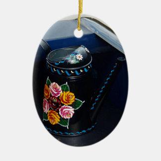Jarro de agua adorno navideño ovalado de cerámica