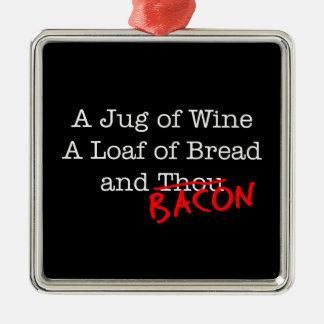 Jarro del tocino de vino adorno navideño cuadrado de metal