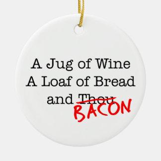 Jarro del tocino de vino adorno navideño redondo de cerámica