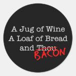 Jarro del tocino de vino pegatina redonda