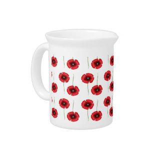 Jarro rojo del modelo de flores de la amapola jarras