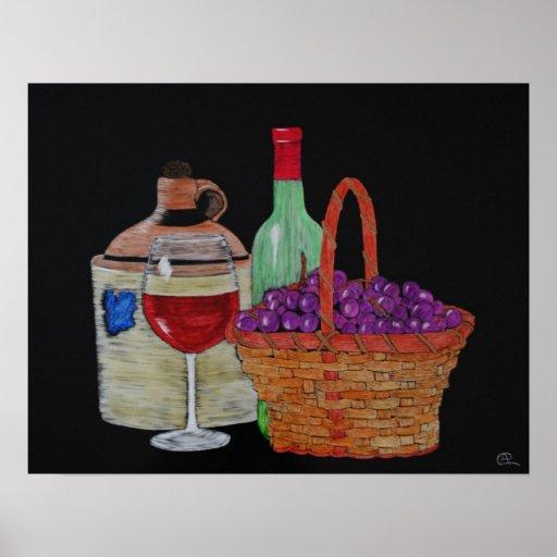 Jarro viejo del vino póster