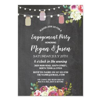 Jars Engagement Party Rustic Chalk Floral Invite