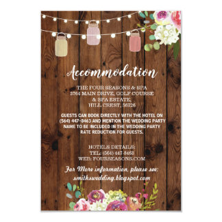 Jars Floral Rustic Accommodation Wedding Cards