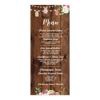 Jars Menu Wedding Reception Rustic Wood Floral Card