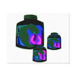 Jars of blue green purple peppers stretched canvas prints