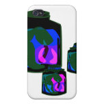 Jars of blue green purple peppers iPhone 4/4S case