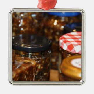 Jars of mincemeat metal ornament