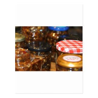Jars of mincemeat postcard
