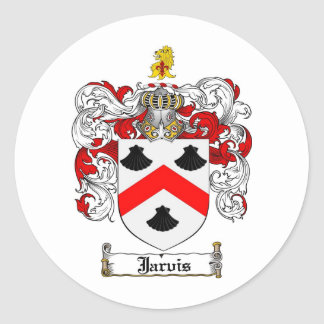 JARVIS FAMILY CREST -  JARVIS COAT OF ARMS CLASSIC ROUND STICKER