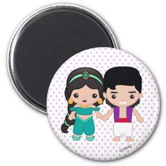 Jasmine and Aladdin Emoji 2 Inch Round Magnet