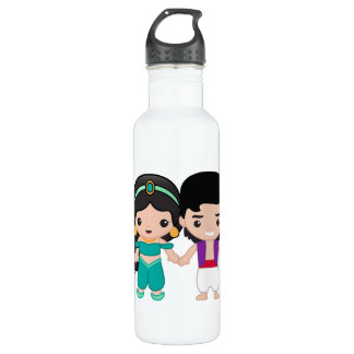 Jasmine and Aladdin Emoji Stainless Steel Water Bottle