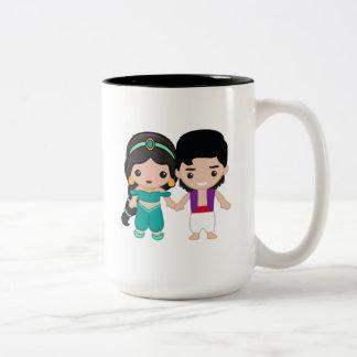Jasmine and Aladdin Emoji Two-Tone Coffee Mug