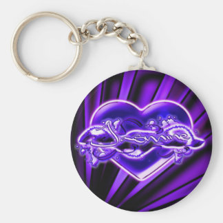 Jasmine Basic Round Button Keychain