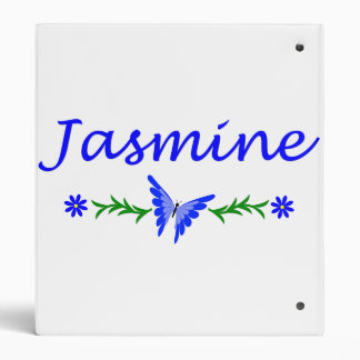 Jasmine (Blue Butterfly) 3 Ring Binder
