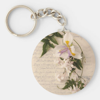 jasmine flowers and lily on script round keychain