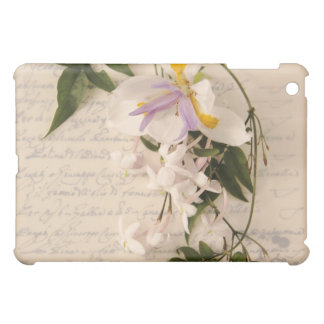 jasmine flowers and lily with script ipad cover
