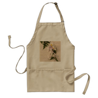 jasmine flowers and lily with script khaki apron