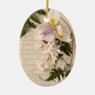 jasmine flowers and lily with script oval ornament