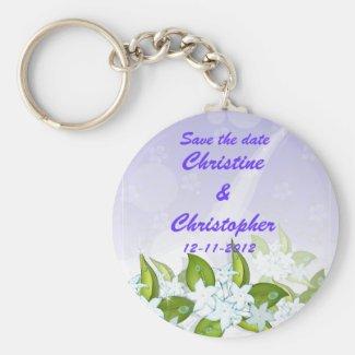 Jasmine Flowers Save the date Keychain