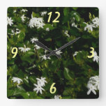 Jasmine Flowers Square Wall Clock