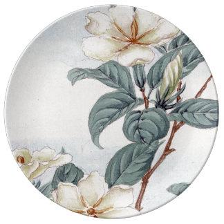 Jasmine Flowers Vintage Japanese Art Porcelain Plates