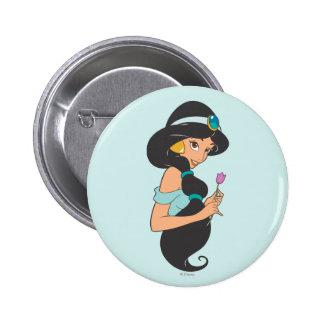 Jasmine Holding Flower 2 Inch Round Button