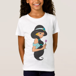 Girls' Fine Jersey T-Shirt with Cartoon Princess Jasmine design