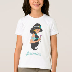 Girls' American Apparel Fine Jersey T-Shirt with Cartoon Princess Jasmine design