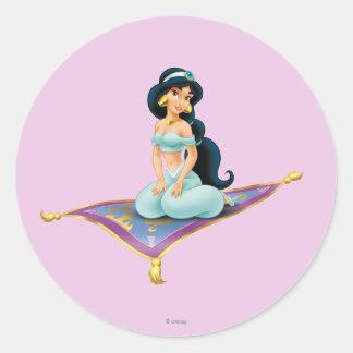 Jasmine on Magic Carpet Round Sticker