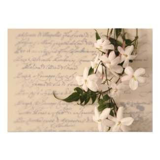 jasmine on old script handwriting invitation