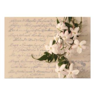 jasmine on old script handwriting invitation