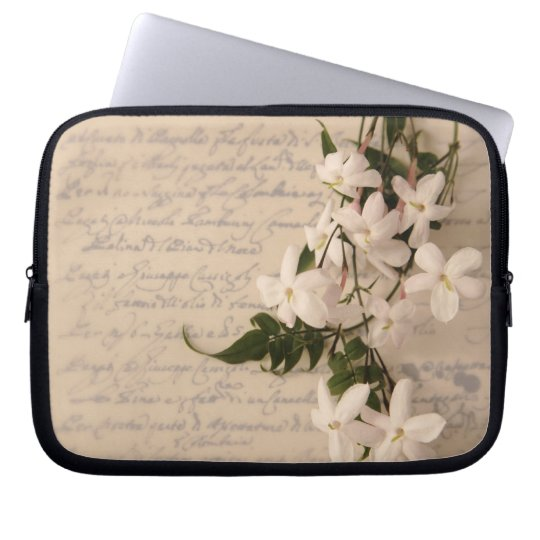 jasmine on old script handwriting laptop sleeve