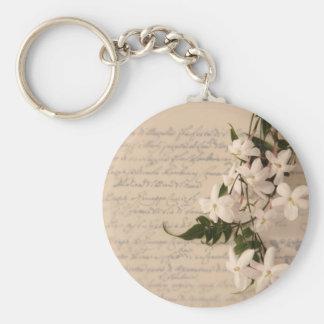 jasmine on old script handwriting round keychain