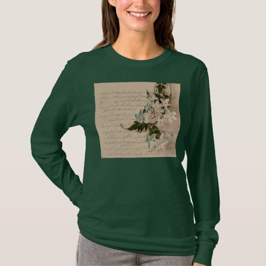 jasmine on old script ladies long sleeve t-shirt