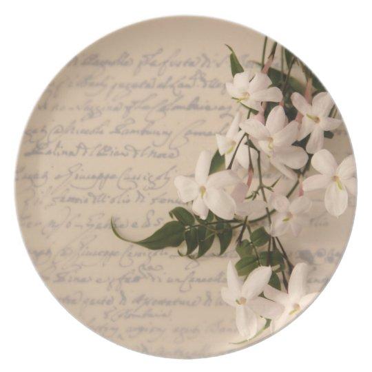 jasmine on old script plate