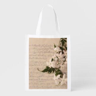 Jasmine on old script reusable grocery bag