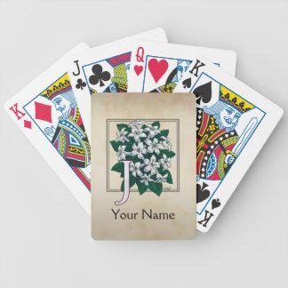 Jasmine Personalized Flower Monogram Bicycle Playing Cards