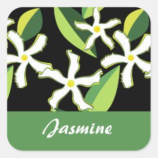 Jasmine Retro Floral Abstract Pattern Square Sticker