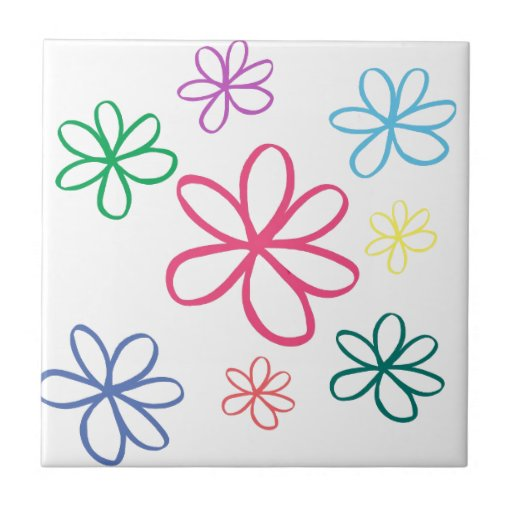 Jasmine Simple Floral Small Square Tile